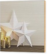 Two Stars With Golden Candles Wood Print