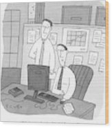 Two Stockbrokers Look At A Computer Wood Print