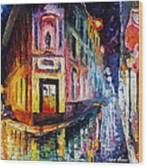 Two Streets - Palette Knife Oil Painting On Canvas By Leonid Afremov Wood Print