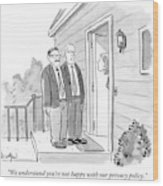 Two Suited Men Stand On The Doorstep Of A House Wood Print