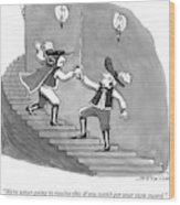 Two Swordfighters On A Staircase Grasp The Handle Wood Print