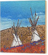 Two Teepees Wood Print