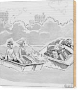 Two Tour-de-france Like Cyclists In A Paddleboat Wood Print