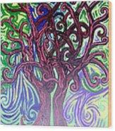 Two Trees Twining Wood Print