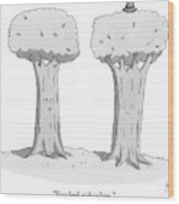 Two Trees With Faces Are Seen Next To Each Other Wood Print