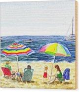 Two Umbrellas On The Beach California  Wood Print