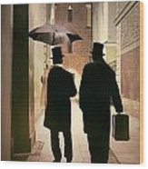 Two Victorian Men Wearing Top Hats In The Old Alley Wood Print
