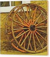 Two Wagon Wheels Wood Print