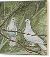 Two White Doves Wood Print