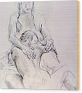Two Woman Embraceing Wood Print