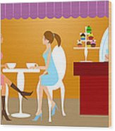 Two Woman Friends Having Coffee Wood Print