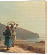 Two Women Chatting By The Sea. St Thomas Wood Print