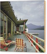 Two Women On The Deck Of A House On A Lake Wood Print