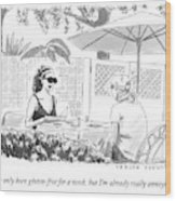Two Women Speak At A Cafe Speak Wood Print