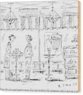 Two Women Stand At A Table In A Cafe Wood Print