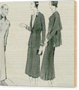 Two Women Wearing A Chanel Jersey Suit Wood Print