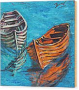Two Wood Boats Wood Print by Xueling Zou