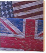 Two Wooden Flags Wood Print by Garry Gay