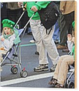 Two Young Girls Marching In The 2009 New York St. Patrick Day Parade Wood Print