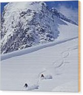 Two Young Men Skiing Untracked Powder Wood Print