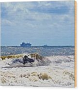 Tybee Island Kite Surfing Wood Print