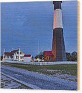 Tybee Island Night Light Wood Print