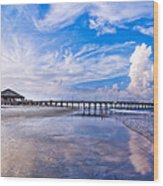 Tybee Island Pier On A Beautiful Afternoon Wood Print