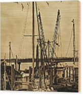 Tybee Island Shrimp Boats Wood Print