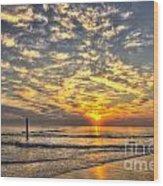 Calm Seas And A Tybee Island Sunrise Wood Print