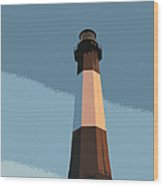 Tybee Lighthouse Sunset Wood Print