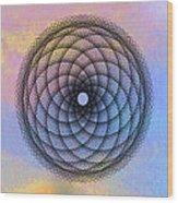 Tye Dye Spirograph Wood Print