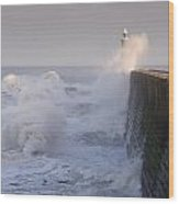 Tynemouth North Pier And Waves Wood Print
