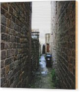 Typical English Back Alley Wood Print