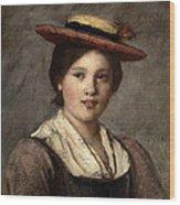 Tyrolean Dirndl With Straw Hat Wood Print