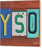 Tyson License Plate Name Sign Fun Kid Room Decor Wood Print