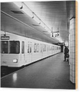 u-bahn train pulling in to ubahn station Berlin Germany Wood Print