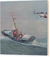 U. S. Coast Guard 44ft Motor Lifeboat And Tilt-motor Aircraft  Wood Print
