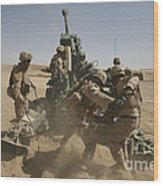U. S. Marines Ram A Satellite-guided Wood Print