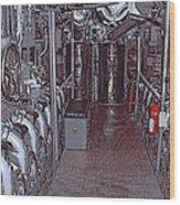 U S S Bowfin Submarine Engine Room Wood Print