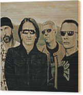 U2 Silver And Gold Wood Print