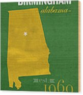 Uab University Of Alabama At Birmingham Blazers College Town State Map Poster Series No 009  Wood Print