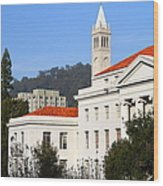 Uc Berkeley . Sproul Plaza . Sproul Hall .  Sather Tower Campanile . 7d10008 Wood Print