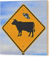 Ufo Cattle Crossing Sign In New Mexico Wood Print
