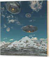 Ufos Flying Over A Mountain Range Wood Print