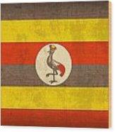 Uganda Flag Vintage Distressed Finish Wood Print