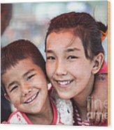 Uighur Children At Kashgar Market Xinjiang China Wood Print
