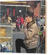 Uighur Street Side Bread Vendor Smokes Shanghai China Wood Print