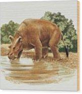 Uintatherium Wood Print