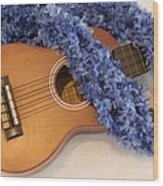 Ukulele And Blue Ribbon Lei Wood Print
