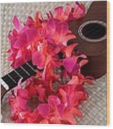 Ukulele And Red Lei Wood Print